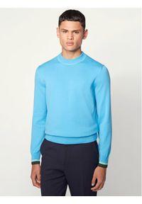 Niebieski sweter klasyczny BOSS