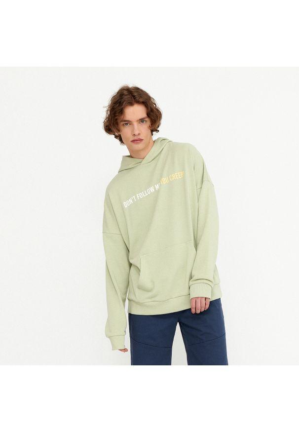 House - Bluza oversize z kapturem Don't Follow Me - Zielony. Typ kołnierza: kaptur. Kolor: zielony