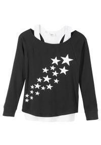 Shirt dziewczęcy z topem (2 części), bawełna organiczna bonprix czarno-biały z nadrukiem. Kolor: czarny. Materiał: bawełna. Wzór: nadruk