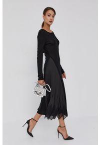 TwinSet - Twinset - Sukienka. Kolor: czarny. Materiał: koronka. Długość rękawa: długi rękaw. Typ sukienki: rozkloszowane