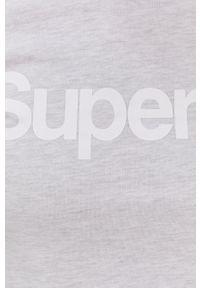 Superdry - T-shirt. Kolor: szary. Materiał: dzianina. Wzór: nadruk