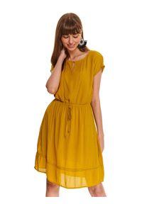 Żółta sukienka TOP SECRET casualowa, z haftami, na co dzień