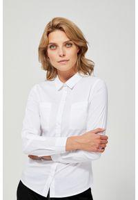 MOODO - Bawełniana koszula z kołnierzykiem. Materiał: bawełna. Długość rękawa: długi rękaw. Długość: długie. Wzór: gładki
