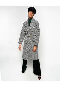 Pinko - PINKO - Płaszcz w pepitkę Alluvione. Kolor: czarny. Materiał: materiał. Sezon: jesień, zima. Styl: vintage