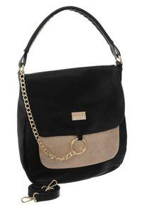 Duży shopper bag czarno-złoty Badura T_D128ZŁ_CD. Kolor: wielokolorowy, złoty, czarny. Dodatki: z breloczkiem. Materiał: skórzane