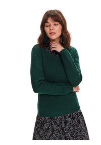 Zielony sweter TOP SECRET w kolorowe wzory, na wiosnę, z długim rękawem, długi