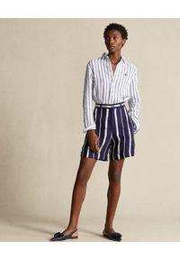 Ralph Lauren - RALPH LAUREN - Koszula w paski. Typ kołnierza: polo. Kolor: biały. Materiał: len. Długość rękawa: długi rękaw. Długość: długie. Wzór: paski