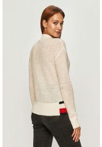 Biały sweter TOMMY HILFIGER długi, na co dzień, z aplikacjami