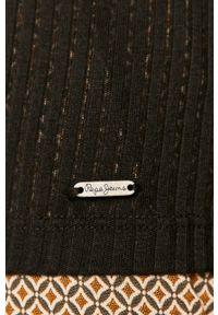 Czarna bluzka z długim rękawem Pepe Jeans z golfem, casualowa, na co dzień