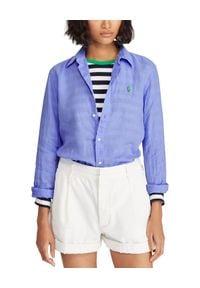Ralph Lauren - RALPH LAUREN - Koszula z lnu Relaxed Fit. Typ kołnierza: polo. Kolor: niebieski. Materiał: len. Długość rękawa: długi rękaw. Długość: długie. Wzór: haft. Styl: klasyczny #2