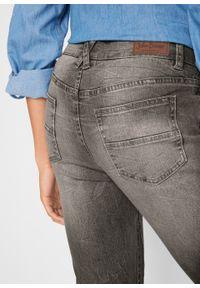 Miękkie dżinsy 7/8 bonprix jasnoszary denim. Kolor: szary