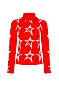 Czerwony sweter Perfect Moment retro, z nadrukiem, z golfem