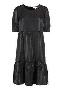 Cream Sukienka z falbankami Cecilie Czarny female czarny 44. Typ kołnierza: kołnierz z falbankami. Kolor: czarny. Materiał: tkanina. Styl: elegancki