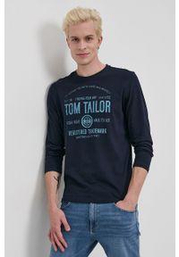 Tom Tailor - Longsleeve bawełniany. Okazja: na co dzień. Kolor: niebieski. Materiał: bawełna. Długość rękawa: długi rękaw. Wzór: nadruk. Styl: casual