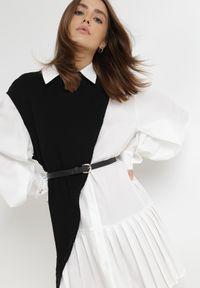 Born2be - Biało-Czarna Sukienka Z Kamizelką Maereira. Typ kołnierza: kolnierz wykładany. Kolor: biały. Materiał: dzianina. Typ sukienki: asymetryczne, plisowane, szmizjerki, koszulowe. Długość: mini