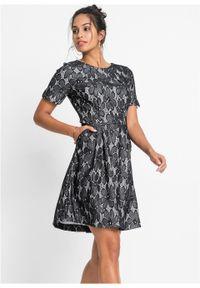 Czarna sukienka bonprix z krótkim rękawem, w koronkowe wzory