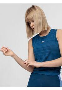 4f - Top treningowy damski. Kolor: niebieski. Materiał: dzianina. Długość rękawa: bez rękawów. Sport: fitness