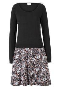 Sukienka dzianinowa 2 w 1, długi rękaw bonprix czarny. Kolor: czarny. Materiał: wiskoza, tkanina, dzianina, poliamid. Długość rękawa: długi rękaw. Długość: mini