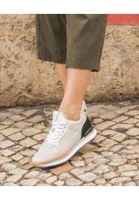 HOFF - Sneakersy Los Angeles. Zapięcie: sznurówki. Kolor: szary. Materiał: jeans, zamsz. Wzór: nadruk, aplikacja