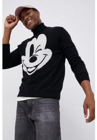 Mc2 Saint Barth - MC2 Saint Barth - Sweter wełniany x Disney. Typ kołnierza: golf. Kolor: czarny. Materiał: wełna. Długość rękawa: długi rękaw. Długość: długie. Wzór: motyw z bajki