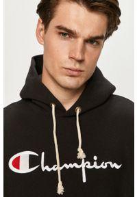 Champion - Bluza. Kolor: czarny. Materiał: dzianina. Wzór: aplikacja