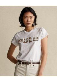 Ralph Lauren - RALPH LAUREN - Biały t-shirt z logo. Okazja: na co dzień. Typ kołnierza: polo. Kolor: biały. Styl: casual