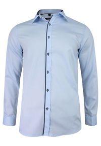 Niebieska elegancka koszula Grzegorz Moda Męska długa, do pracy, z długim rękawem
