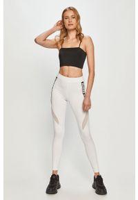 Białe legginsy Guess z podwyższonym stanem, z nadrukiem