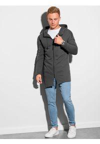 Ombre Clothing - Bluza męska rozpinana z kapturem B1189 - grafitowa - XXL. Typ kołnierza: kaptur. Kolor: szary. Materiał: poliester, bawełna