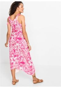 Długa sukienka z dłuższymi bokami bonprix różowy - kolorowy. Kolor: różowy. Wzór: kolorowy. Długość: maxi