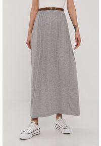 Vero Moda - Spódnica. Kolor: szary. Materiał: dzianina, wiskoza, materiał