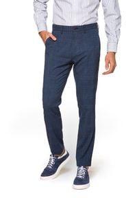 Lancerto - Spodnie Niebieskie w Kratę Jimmy. Kolor: niebieski. Materiał: tkanina, elastan, poliester, wiskoza, materiał. Styl: elegancki, sportowy