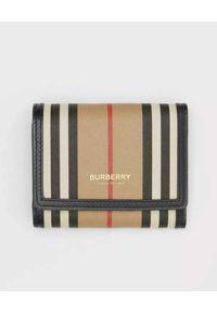 Burberry - BURBERRY - Składany portfel z ekologicznego płótna. Kolor: beżowy. Wzór: paski