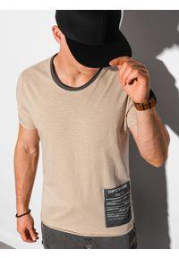 Ombre Clothing - T-shirt męski bawełniany S1383 - beżowy - XXL. Kolor: beżowy. Materiał: bawełna. Wzór: aplikacja. Styl: klasyczny