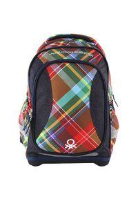 Target Docelowy plecak szkolny, Benetton, kolor ciemnoniebieski. Kolor: niebieski. Wzór: kolorowy