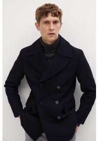 Czarny płaszcz Mango Man casualowy, bez kaptura