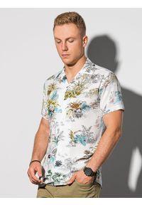 Ombre Clothing - Koszula męska z krótkim rękawem K580 - biała/zielona - XXL. Okazja: do pracy, na spotkanie biznesowe. Kolor: zielony. Materiał: wiskoza. Długość rękawa: krótki rękaw. Długość: krótkie. Wzór: kolorowy. Sezon: lato. Styl: wakacyjny, biznesowy