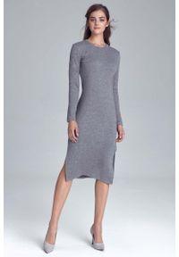 Szara sukienka wizytowa Nife elegancka