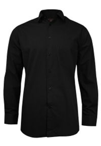 Czarna elegancka koszula Jurel z aplikacjami, na spotkanie biznesowe, z długim rękawem