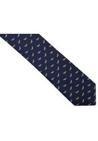 Adam Collection - Granatowy krawat męski w ważki D264. Kolor: niebieski. Materiał: tkanina, mikrofibra