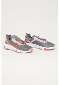 Szare buty sportowe Nike Kids z okrągłym noskiem, na sznurówki