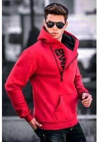 Czerwona bluza IVET z kapturem, z napisami, casualowa