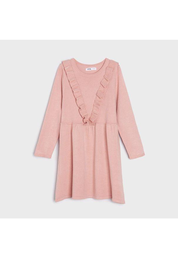 Sinsay - Sukienka z falbankami - Różowy. Typ kołnierza: kołnierz z falbankami. Kolor: różowy