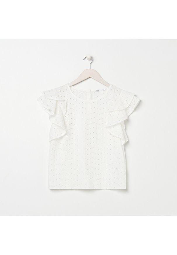 Sinsay - Ażurowa bluzka - Kremowy. Kolor: kremowy. Wzór: ażurowy