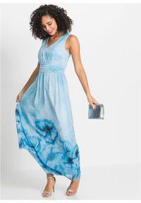Niebieska sukienka bonprix w kwiaty, na lato