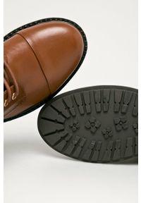 Brązowe botki Aldo z cholewką, na sznurówki, z okrągłym noskiem