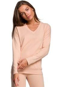 MOE - Dzianinowy Sweterek z Dekoltem V - Beżowa. Kolor: beżowy. Materiał: dzianina
