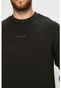 Czarna bluza nierozpinana Calvin Klein Jeans na co dzień, bez kaptura, casualowa, z nadrukiem