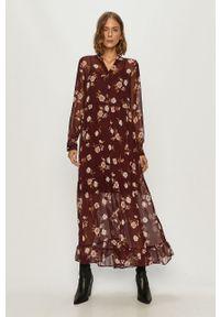 Fioletowa sukienka Vero Moda casualowa, na co dzień, prosta, z długim rękawem
