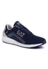 Niebieskie półbuty casual EA7 Emporio Armani z cholewką, na co dzień